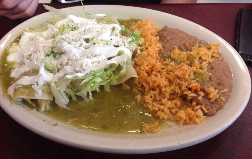 Delicious Mexican food. Chicken enchiladas. Mexican restaurant in Salt Lake City
