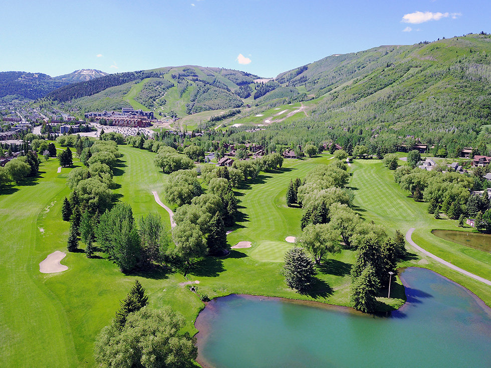 Arial view against the mountains at Park City Golf Course in Park City, Utah