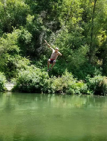 Secret rope swing on Provo River