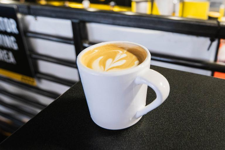 """the upstairs coffee bar features great """"food"""" and drink"""
