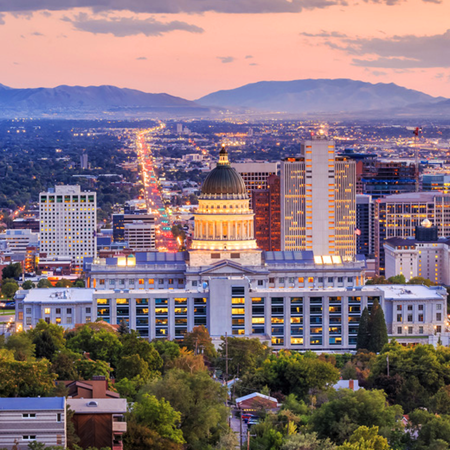 A picture of downtown Salt Lake City, specifically the capitol building. You can visit here if you stay in one of the many hotels located in SLC.