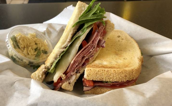 The Heritage sandwich with orzo pasta