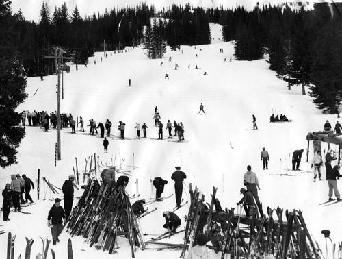 A scene from 1952 at Brighton Resort, Utah's first ski resort that started in 1936